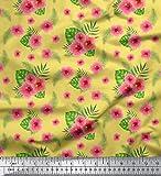 Soimoi Gelb Schwer Canvas Stoff Blätter & Blumendruck