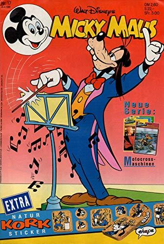 Micky Maus Zeitschrift - Nr. 17 - Vom 18.04.1991 - Komplett mit den Heft-Extras ' Natur-Kork-Sticker und 4 Sammelkarten (neu mit Motocross-Maschinen!)' - Heft, Magazin, Broschüre, Lektüre