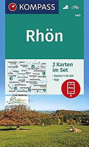 KOMPASS Wanderkarte Rhön: 2 Wanderkarten 1:50000 im Set inklusive Karte zur offline Verwendung in der KOMPASS-App. Fahrradfahren. (KOMPASS-Wanderkarten, Band 460)