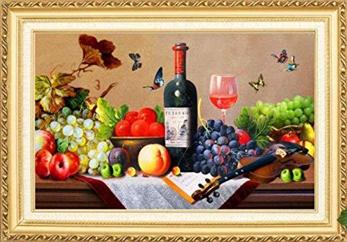 Bordado Kit de punto de cruz para adulto,Vino tinto y fruta Imágenes DIY Art Kit de punto cruz para niño Principiante la Regalo,decoración del hogar40x50cm(11CT Preimpreso Tela)