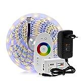5m 5050 LED Strip DC12V RGBWW Cinta de luz flexible 300 LED RGB Color LED Strip Set Control remoto Adaptador de corriente