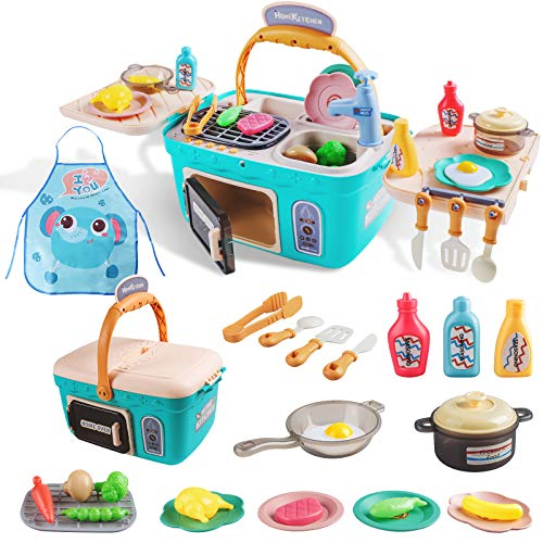 Sufiya Kids Kitchen PlaysetPlay Cooking Kitchen Picnic SetPortable Basket Toys with MusicampLightColor Changing Play FoodsPlay Foods Pretend Play OvenKitchen Accessories Toys for Kids Boys Girls