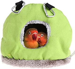 ANTOLE Parrot Nest Plush Warm Winter Hanging Hammock Pet Bird Round Hanging Swing Bed Cave Cage Decor Small Animals House ...