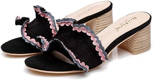 Sandales et et et Pantoufles été Nouveau Style Femme fée Vent Filet Rouge Dentelle Rose épaisse avec Une Petite Taille Chaussures Femmes (Couleur   noir, Taille   39) e17