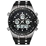 SPOTALEN Men's Sport Watch Waterproof Military Wrist Watches Multi-Functional Analog Digital Stopwatch Backlight Calendar Watches in Black Silicone Band
