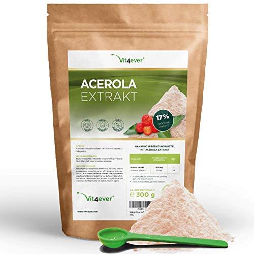 Vit4ever® Acerola Pulver - 300 g - Natürliches Vitamin C - 200 Tagesportionen mit 1500 mg Extrakt aus der Acerolakirsche (6,6 Monate Vorrat) - Laborgeprüfte Reinheit & Qualität - Vegan