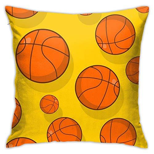 Fundas de Almohada, Fundas para Cojines de Lino Funda de Almohada Patrón de Baloncesto Funda Cojin Decorativa de Casa para sofá Dormitorio Coche,45x45CM