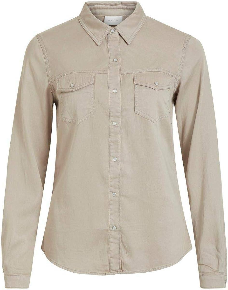 Vila Vibista Denim Shirt/Su-Noos Camisa para Mujer