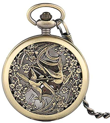huangshuhua Reloj de Bolsillo Bronce Retro Hollow Magpie Design Fob Reloj de Bolsillo mecánico Números Romanos Dial con Cadena Mejor Regalo Unisex Niños
