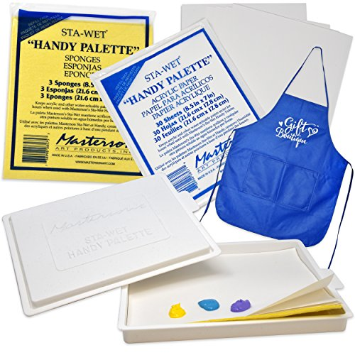 Masterson Sta-Wet Palette with Airtight Lid Keeps Paint Wet Fresh for Days, with Pack of 30 Acrylic Paper 8 1/2 in. x 7 in, and Pack of 3 Handy Palette Sponges + Bonus Gift Boutique Artist Full Apron