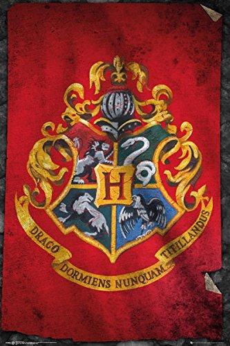 Harry Potter Poudlard Drapeau Maxi poster 61 x 91.5 cm, Laminé, 24-Inches x 36-Inches