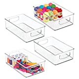 mDesign Stackable Plastic Storage Organizer Bin with Built-in Handles - for Craft, Sewing, Art, School Supplies in Home, Classroom, Playroom or Studio, 4 Pack - Clear