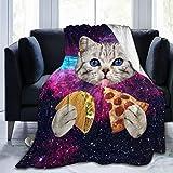 YISHOW Galaxy Space Kitten Cat Eat Pizza Fleece Throw Blanket Plush Soft Throw for Bed Sofa, 80'X60'