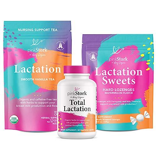 Pink Stork Nursing Bundle: Lactation Support Supplements, Lactation Tea + Fenugreek, Lactation Sweets for Breastfeeding Mothers, Supports Breast Milk Supply & Flow, Postpartum Essentials, Women-Owned