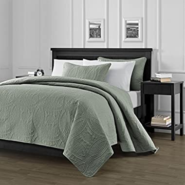 Chezmoi Collection Austin 3-piece Oversized (100 x106 ) Bedspread Coverlet Set Queen, Sage