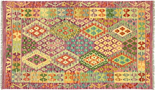 Afghan Maimana Kelim Bunt 155x102 Handgewebt Teppich 100x160 Bunt