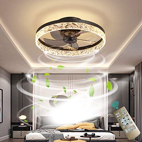 OMGPFR Deckenventilator mit Beleuchtung LED Licht, Luxus Kristall Deckenleuchte, Mit Fernbedienung dimmbar, Modern Ruhig Deckenventilatorlampe für Wohnzimmer Schlafzimmer, Wendbarer Lüfter,Schwarz