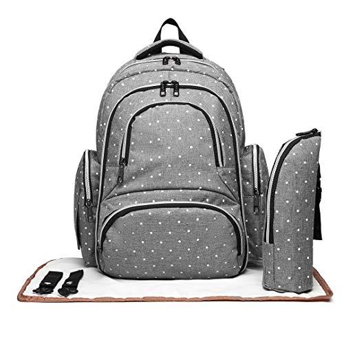 Kono Baby Wickelrucksack Wickeltasche mit Wickelunterlage/USB-Lade Port/Wickelunterlage/Isoliertasche Multifunktional Große Kapazität Babyrucksack (Punkt Grau)