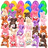 """24 pcs Easter Eggs Filled with Plush Bunny 3.2"""" Bright Colorful Easter Eggs Prefilled with 4.5"""" Plush Bunnies"""