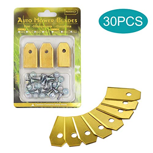 TLIYE - 30 cuchillas de titanio para robot cortacésped Husqvarna® y Gardena ® / accesorios de repuesto para robot cortacésped compatible con 105, 310, 315, 320, 420, 430x, r40i, etc.