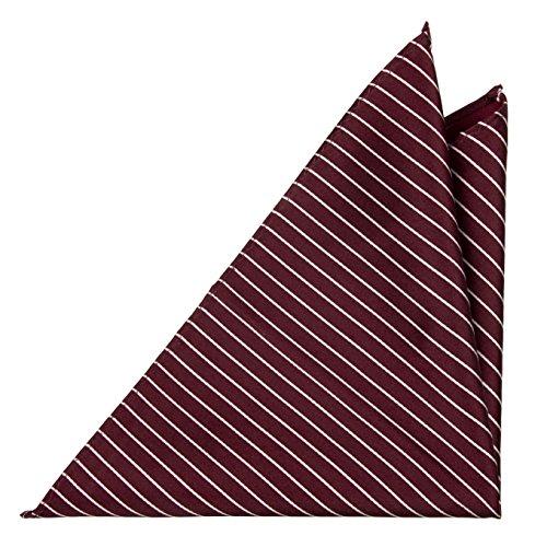 Notch Einstecktuch aus Seide für Herren - Weinrote Basis und weisse Streifen