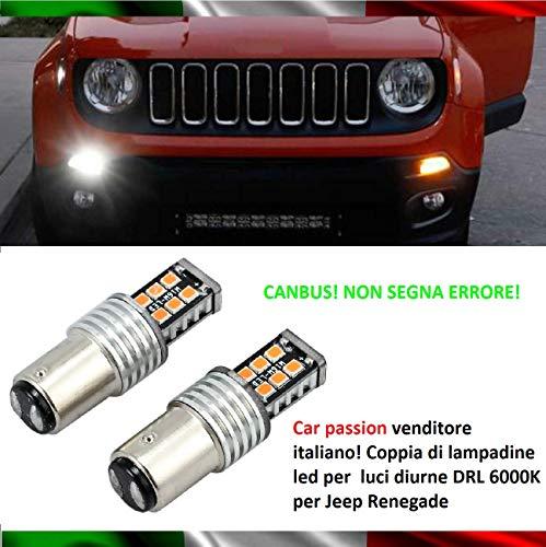 Coppia Luci Diurne DRL Di Posizione 15 Led BAY15D P21/5W Lampadine CANBUS 100% No Errore 6000K Bianco Ghiaccio