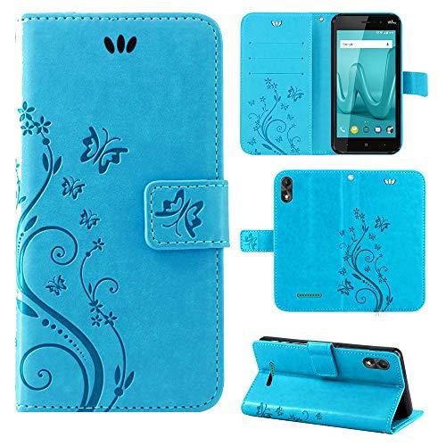 betterfon | Wiko Lenny 4 Plus hülle Flower Case Handytasche Schutzhülle Blumen Klapptasche Handyhülle Handy Schale für Wiko Lenny 4 Plus Blau
