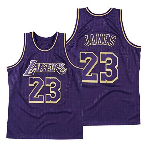 Kobe 24# O'Neal 34# Lakers Baloncesto Jersey, Malla y Uniforme de Baloncesto Transpirable Año de la edición Limitada de Rata Secado rápido (S-XXL) Púrpura James23#-XL