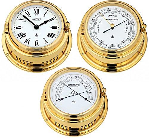 Wempe Serie Bremen II Messing - Glasenuhr, Barometer und Hygro-/Thermometer