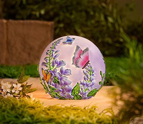 Weltbild LED-Kugelleuchte Schmetterling - Dekolampe, batteriebetrieben, für Garten, Dekokugel, Leuchtkugel mit Schmetterlingsmotiv, Gartenlampe, für innen und außen, Durchmesser 23 cm