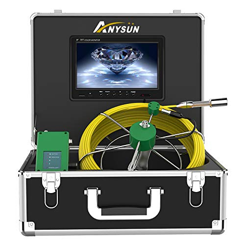 Sewer Camera, Anysun 9 Inch LCD Monitor with DVR Recorder Pipe Camera IP68 Waterproof Portable Drain Duct Pipe Camera HVAC Snake Video System 1000TVL HD Color Inspection Camera (165ft/50m-DVR)