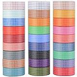 Set di 27 rotoli di nastro adesivo Washi Masking Tape decorativo per scrapbooking, fai da te, bullet journal, motivo a quadretti in diversi colori