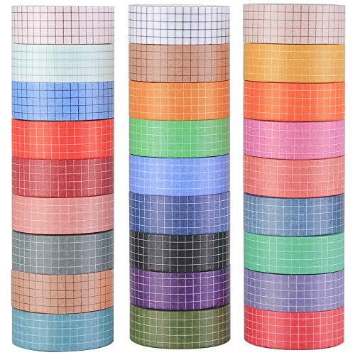 27 Rollen Washi Tape Set, Washi Masking Tape Dekorative Klebeband für Scrapbooking DIY Handwerk,bullet journal,Kariertes Muster in verschiedenen Farben