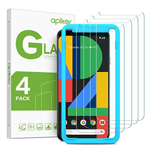 [4 Pack] Google Pixel 4 Screen Protector, apiker Tempered Glass Screen Protector for Google Pixel 4 - Alignment Frame Easy Installation