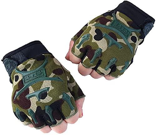 Children Half Finger Fingerless Short Gloves Mitt Mitten for Cycling MTB Exercise Skate, Skateboard, Roller Skating - Sport Gloves for Mountain Climbing Cycling Riding Protective Army Green