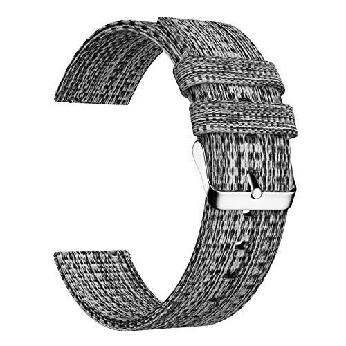 Ullchro Nylon Cinturini Orologi Alta qualità Orologi Bracciale - 16mm, 18mm, 20mm, 22mm, 24mm Cinturino Orologio Fibbia Dell'acciaio Inossidabile (20mm, Black & Silver)
