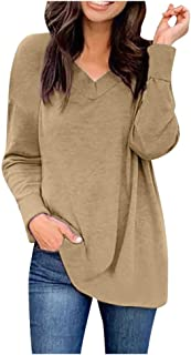 Fanybin Women's Winter Loose Plus Size Pullover Fashion Pleated Long Sleeve V-Neck Casual Solid Shirts Top Blouse T-Shirts