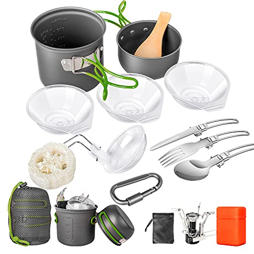 Limechoes Camping Cookware Set 16 Pcs, Camping Pots and Pans Set Non-Stick, Mess Kit Stove Canister Stand Backpacking Camping Cooking Set for Outdoor Hiking Picnic with Folding Knife and Fork Kit