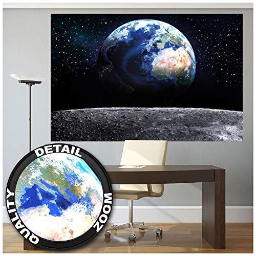 Great Art Planet Aarde – muurschildering decoratie wereld earth maan Galaxy Universum All Cosmos Space wereldbol ster maan wereldall Orbit fotobehang wandbehang fotoposter wanddecoratie