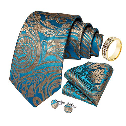 GPZFLGYN Cravatte da uomo regalo Cravatta da sposa in seta floreale azzurra per uomo Set di cravatte per gemelli Hanky Business