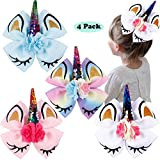 4PCS 6Inch Large Big Unicorn Hair Bows Cheer Bows Rainbow Hair Bows Alligator Hair Clips Hair Accessories for Girls ToddlersKids Children Teens