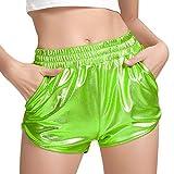 Womens Metallic Shorts Green High Waisted Hot Shorts