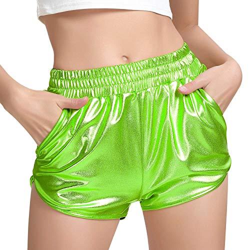 MAKARTHY Neon Shorts for Women Shiny Metallic Green Shorts Space Galaxy Coustme