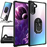 STORM BUY Phone Case for [ Samsung Galaxy Note 10 ], Crystal Clear Back Cover with [Shock Absorption] Protection, Kickstand Ring Black Bumper Case for Galaxy Note 10 6.3 Inch (Bk)