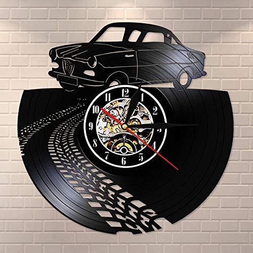 inodoro led luz nocturna vintage retro coche con señal de tráfico mudo cuarzo disco de vinilo reloj de pared reloj deportivo carreras reloj entusiasta del automóvil decoración del hogar Laura A