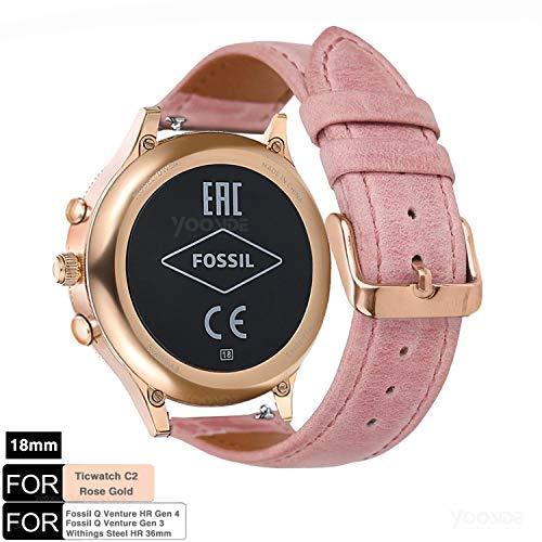 YOOSIDE Armband für Fossil Venture Damen Smartwatch,18mm Schnellverschluss Klassisch Leder Replacement Uhrenarmbänder für Fossil Q Venture 3/4 HR 4, Fossil Damen Sport(Rosa)