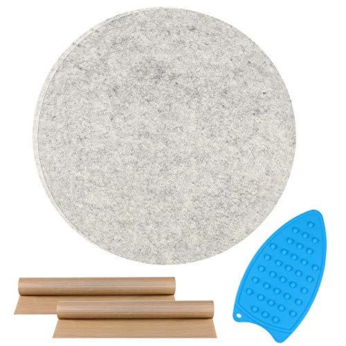 Yotako Esterilla de prensado de lana para acolchar, redonda 100% lana neozelandesa, 33 x 33 cm y 2 hojas de teflón para colchas, costura, patchwork, costuras y manualidades