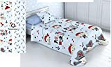 Energy Colors Textil-Hogar - Infantil - Colcha Verano Estampada Reversible Tipo Funda de Cojín 60 x 60 cm Incluida (Mariner, Cama 90)