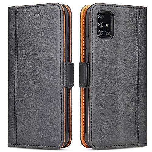 Bozon Handyhülle für Galaxy A51, Lederhülle mit Kartenfächer, Schutzhülle mit Standfunktion, Klapphülle Tasche für Samsung Galaxy A51 (Schwarz)