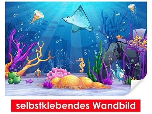 Zelfklevende muurschildering Cartoon Underwater World – gemakkelijk te plakken – muurprint, wallpaper, posters, vinylfolie met puntlijm voor muren, deuren, meubels en alle gladde oppervlakken van trendy muren
